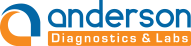 Logo Designed in Dark Orange and Blue Color that resembles 'a' of Anderson Diagnostics and Labs, Text also Mentioned.