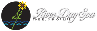 Three Blue Wavy Lines with a beautiful yellow flower that depicts the Spa Text inside the Black Circle, The Riverday Spa's Logo, Text Mentioned.